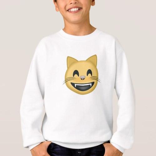 Grinning Cat Face With Smiling Eyes Emoji Sweatshirt for Kids