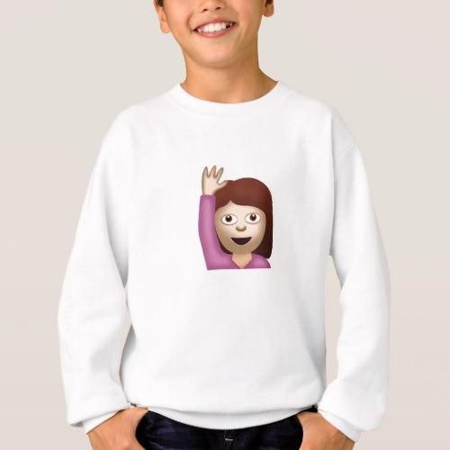 Happy Person Raising One Hand Emoji Sweatshirt for Kids