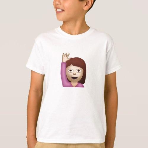 Happy Person Raising One Hand Emoji T-Shirt for Kids