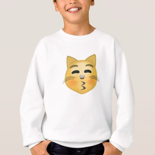 Kissing Cat Face With Closed Eyes Emoji Sweatshirt for Kids