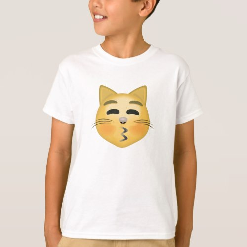 Kissing Cat Face With Closed Eyes Emoji T-Shirt for Kids