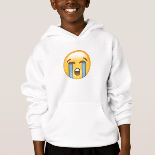 Loudly Crying Face Emoji Hoodie for Kids
