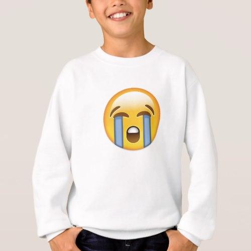 Loudly Crying Face Emoji Sweatshirt for Kids