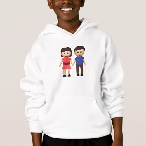 Man And Woman Holding Hands Emoji Hoodie for Kids