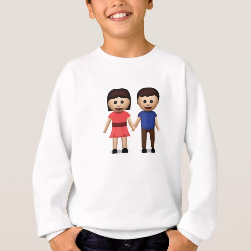 Man And Woman Holding Hands Emoji Sweatshirt for Kids