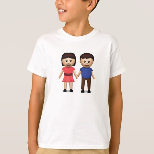 Man And Woman Holding Hands Emoji T-Shirt for Kids