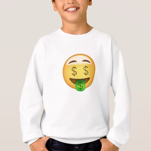 Money-Mouth Face Emoji Sweatshirt for Kids