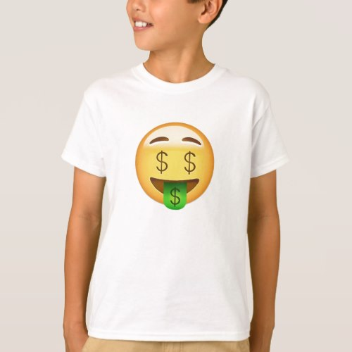 Money-Mouth Face Emoji T-Shirt for Kids