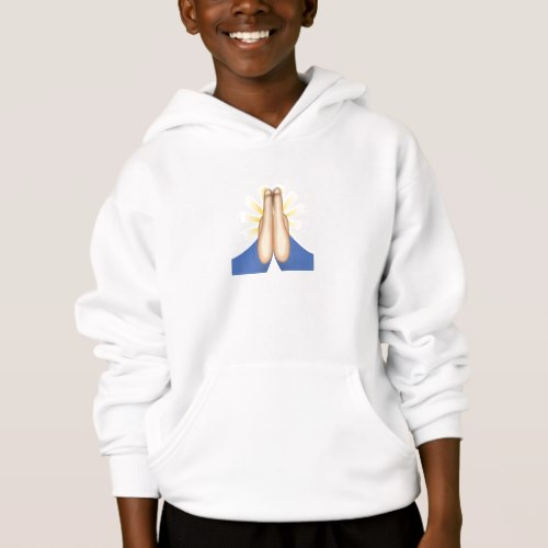 Person With Folded Hands Emoji Hoodie for Kids