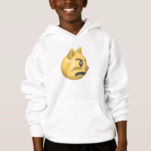 Pouting Cat Face Emoji Hoodie for Kids