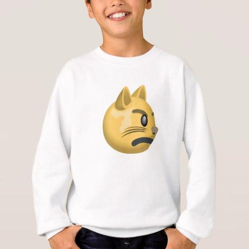 Pouting Cat Face Emoji Sweatshirt for Kids