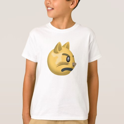 Pouting Cat Face Emoji T-Shirt for Kids