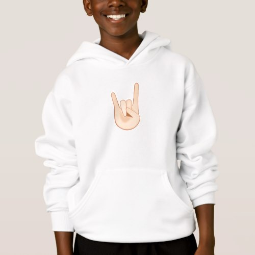 Sign of the Horns Emoji Hoodie for Kids