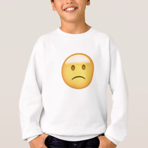 Slightly Frowning Face Emoji Sweatshirt for Kids