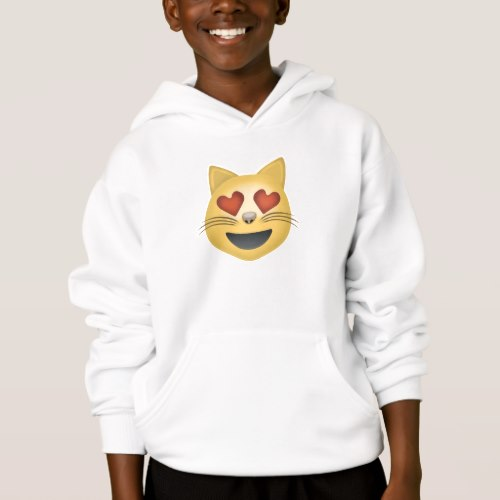 Smiling Cat Face With Heart Shaped Eyes Emoji Hoodie for Kids