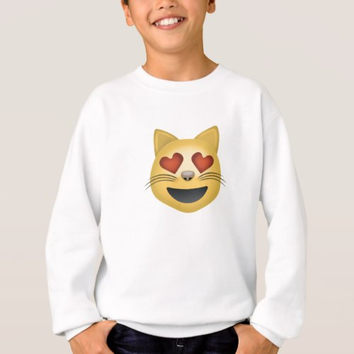 Smiling Cat Face With Heart Shaped Eyes Emoji Sweatshirt for Kids