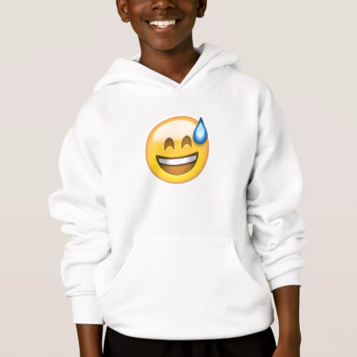 Smiling Face With Open Mouth And Cold Sweat Emoji Hoodie for Kids