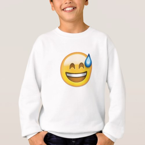 Smiling Face With Open Mouth And Cold Sweat Emoji Sweatshirt for Kids