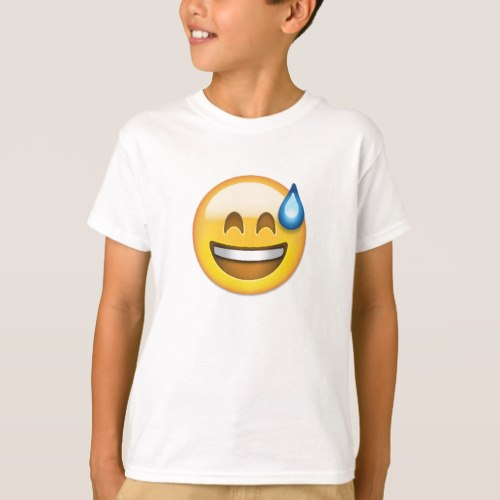 Smiling Face With Open Mouth And Cold Sweat Emoji T-Shirt for Kids