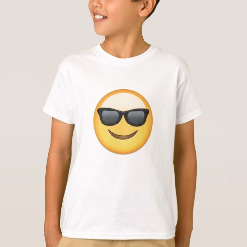 Smiling Face With Sunglasses Emoji T-Shirt for Kids
