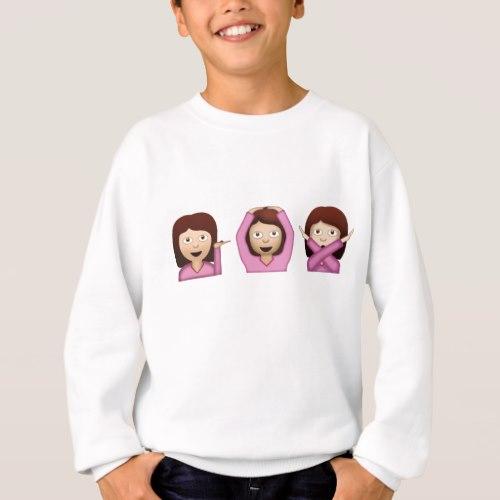 Three Girls Emoji Sweatshirt for Kids