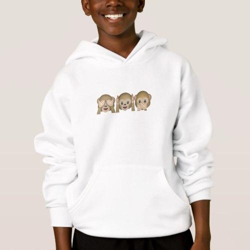 Three Wise Monkeys Emoji Hoodie for Kids