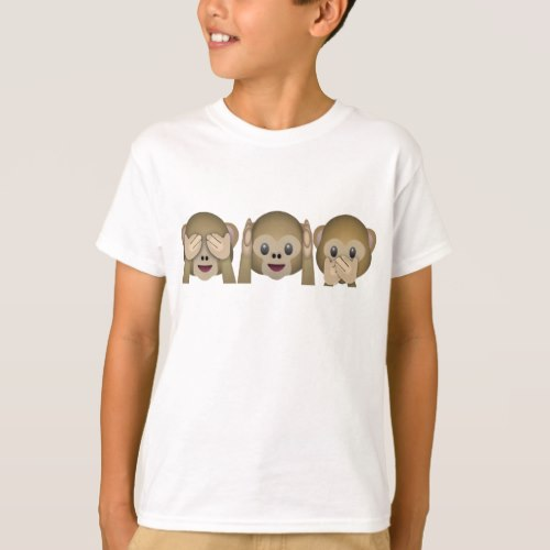 Three Wise Monkeys Emoji T-Shirt for Kids