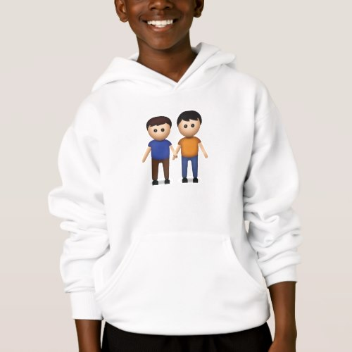 Two Men Holding Hands Emoji Hoodie for Kids