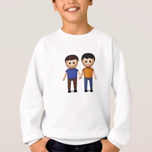 Two Men Holding Hands Emoji Sweatshirt for Kids