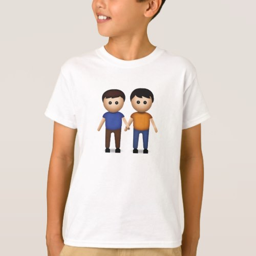 Two Men Holding Hands Emoji T-Shirt for Kids