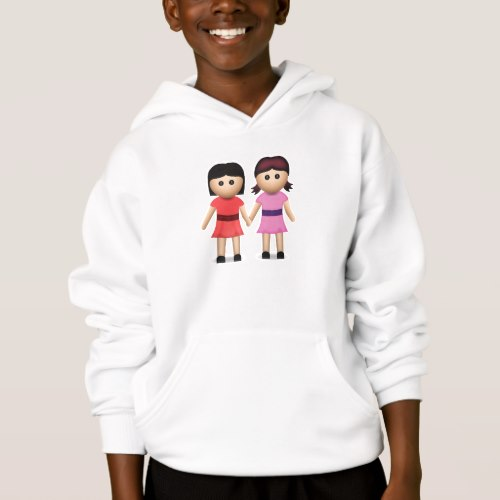 Two Women Holding Hands Emoji Hoodie for Kids