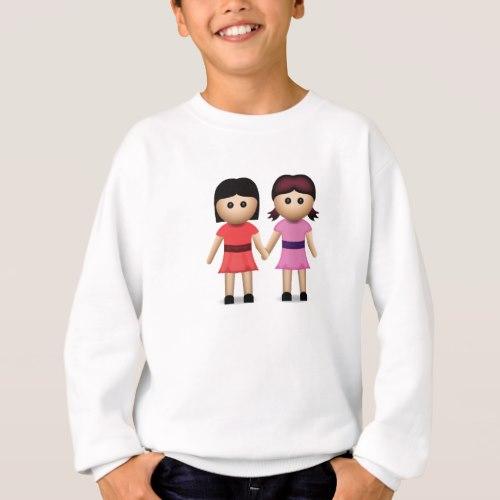 Two Women Holding Hands Emoji Sweatshirt for Kids