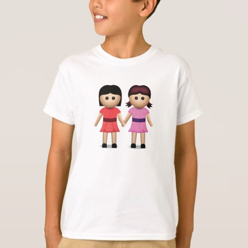Two Women Holding Hands Emoji T-Shirt for Kids