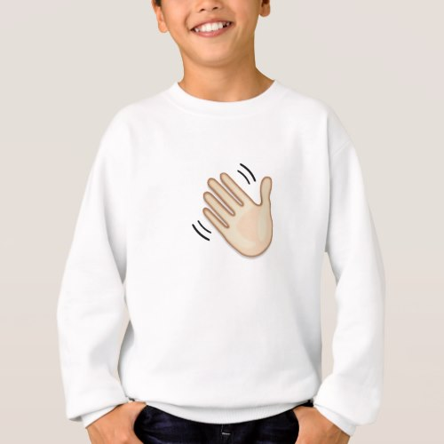 Waving Hand Sign Emoji Sweatshirt for Kids