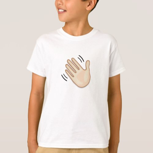 Waving Hand Sign Emoji T-Shirt for Kids