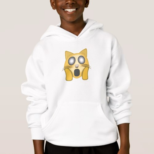 Weary Cat Face Emoji Hoodie for Kids