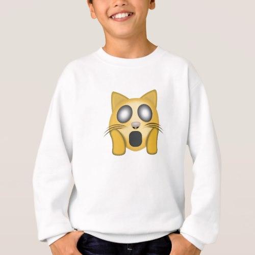 Weary Cat Face Emoji Sweatshirt for Kids