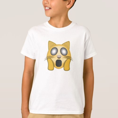 Weary Cat Face Emoji T-Shirt for Kids