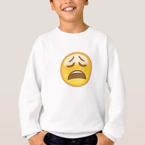 Weary Face Emoji Sweatshirt for Kids