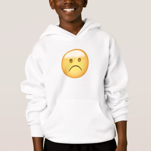 White Frowning Face Emoji Hoodie for Kids