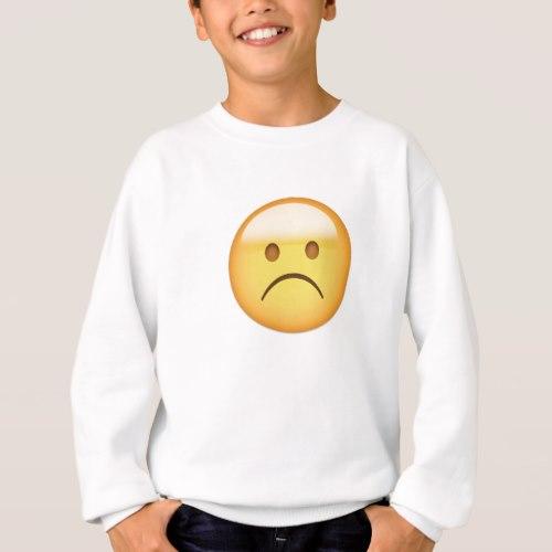 White Frowning Face Emoji Sweatshirt for Kids