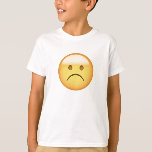 White Frowning Face Emoji T-Shirt for Kids