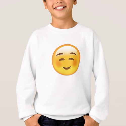White Smiling Face Emoji Sweatshirt for Kids