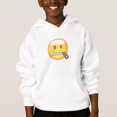 Zipper-Mouth Face Emoji Hoodie for Kids