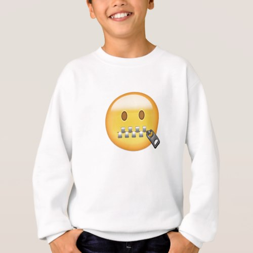Zipper-Mouth Face Emoji Sweatshirt for Kids