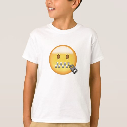 Zipper-Mouth Face Emoji T-Shirt for Kids