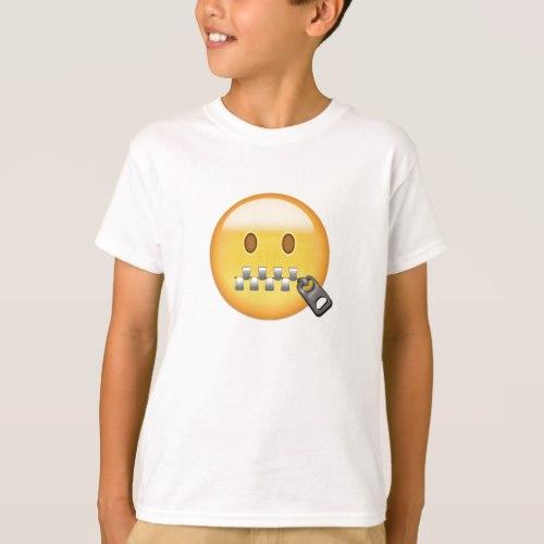 Zipper-Mouth Face Emoji T-Shirt for Kids