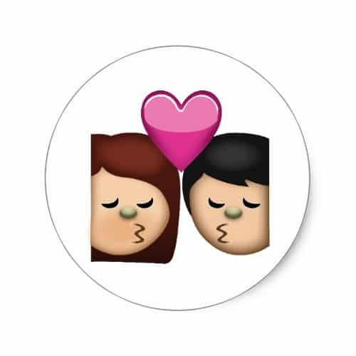 Kiss Emoji Classic Round Sticker