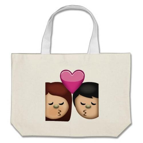 Kiss Emoji Large Tote Bag