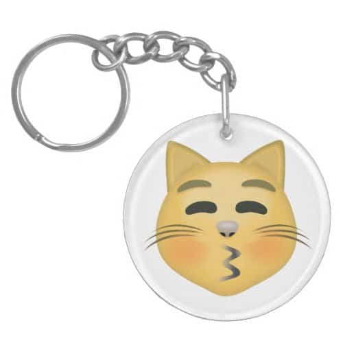 Kissing Cat Face With Closed Eyes Emoji Keychain